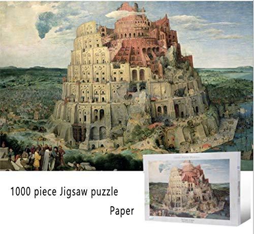 HOQTUM Rompecabezas Adulto y Niña La Torre de Babel de Pieter Brueghel - 1000 Pieza del Rompecabezas de Rompecabezas de Papel for Adultos Juegos caseros