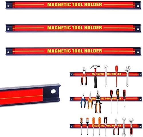 RELAX4LIFE Magnetleiste aus Stahl, Magnetischer Werkzeughalter, Werkzeugleiste Wand, Werkzeughalterung Magnet, Magnethalterung Werkstatt, Hohe Tragkraft, Inkl. Montagematerial, 46 cm lang (3 Stück)