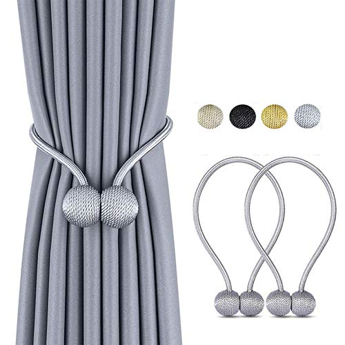 Magnetic Curtain Tiebacks, The Most Convenient Drape Tie Backs,European Style Decorative Weave Rope Curtain Holdbacks Holder for Window Sheer Blackout Drapries Office, 16 inch, 2 Pack (Silver Grey)
