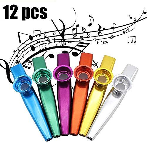 Kazoo, 12 Stück Metall Kazoo Musikinstrumente, für Gitarre, Ukulele, Violine, Klaviertastatur, tolles Geschenk für Kinder Musikliebhaber-6 Farben