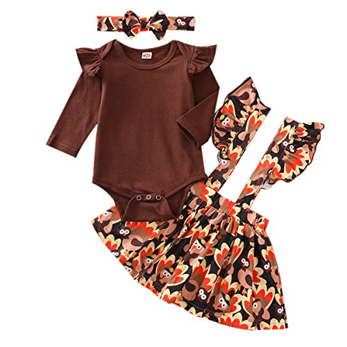 Infant Baby Girls Outfit Thanksgiving Suspender Skirt Set Rompers Top Ruffle Strap Dress Bowknot Headband 3PCS Clothes Set (Brown Yellow, 0-3 Months)