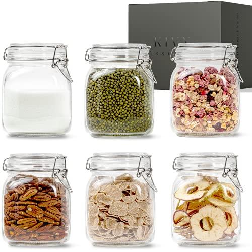KIVY Juego de Tarros de Cristal con Tapa [6 x 1000 ml] – Botes Cocina Almacenaje – Botes de Cocina de Vidrio con Tapa – Botes 1 litro – Frascos con Tapa – Frascos Cuadrados