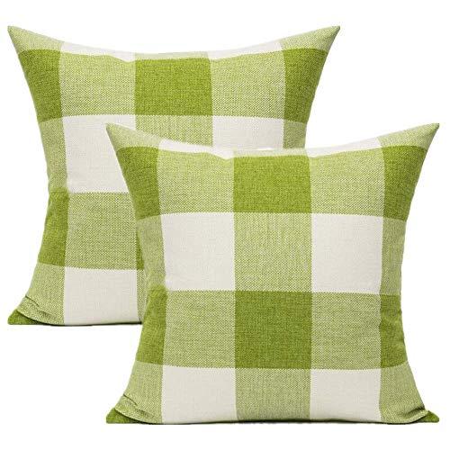 VAKADO Juego de 2 fundas de almohada decorativas de 24 x 24 cm, diseño rústico, retro, con cuadros de primavera, cuadrados, decoración para el hogar, sofá, patio, verde y blanco