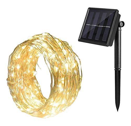 Gresonic Solar Lichtdraht 100er LED Lichterkette Drahtlichterkette Mikro Dekoration Beleuchtung Draht Mini Zubehör für Party Hochzeit Feiern Garten Terrasse Weihnachten Drahtleuchten