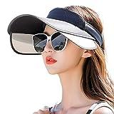 Negro Sombreros Mujer Viseras Gorras para Sol Verano Sombrero Protector Solar Visera Gorros Plegable Moda Salvaje Gorra Bicicleta Viaje Protección UV Protector Cuello Sombrilla Hecho Mano,G-OneSize
