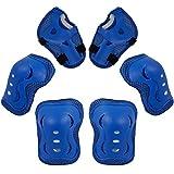 Metagio - Juego de 6 rodilleras para niños, ajustable, rodilleras, coderas, para monopatín, patinaje, conducción, deportes al aire libre (azul)