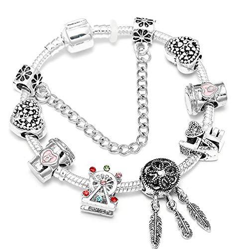 MZFRXZ Damen Armband Charm Armbänder Für Frauen Mit Bunten Perlen Fit Original Brand Armband Für Frauen Schmuck Geschenk 21 cm BF16