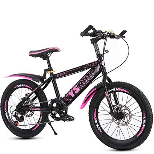 YAOXI Bicicleta De Montaña con Llantas Hecho De Aleación De Aluminio, Mango Antideslizante Variable Velocidad Frenos De Disco En Frente Y Detras Niño-Niña Bicicletas,Black/Pink,22Inch