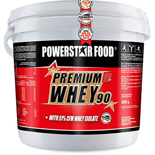 PREMIUM WHEY 90-51,00% CFM Whey Isolat - Weidenmilch Molkenprotein mit 90% i.Tr. Proteingehalt - Perfekt für Muskelaufbau & Abnehmen - Extrem lecker - Made in Germany - 5000g Eimer (Chocolate)