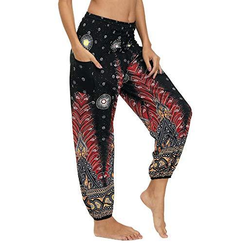 Nuofengkudu Damen Hippie Hosen mit Taschen Haremshosen Leichte Boho Muster Bunt High Waist Yogahosen Sommer Lockere Umstandshose Freizeithose (Brauner Pfau,One Size)