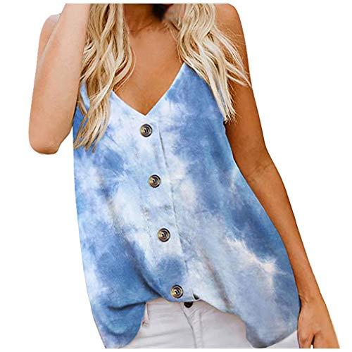 Andouy Damen Sommer Knopf V-Ausschnitt Spaghettiträger Tank Tops Elegant Ärmellos Oberteile Shirt(S.Blau-2)