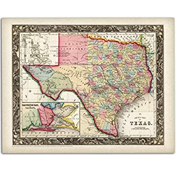 County Map of Texas - 11x14 Unframed Art Print - Great Vintage Gift and Decor for History Buffs and Texans Under $15