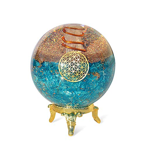 Orgonite Crystal Blue Aquamarine Crystal Ball with Stand for Positive Energy, E-emission Protection and Chakra Balancing –with Flower of Life Symbol to Promote Purpose, Serenity and Courage