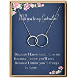 Godmother Gifts Two Interlocking Infinity Double Circles Sterling Silver Necklace Mother's Day Gifts for Women