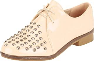 Cambridge Select Women's Spike Studded Lace-Up Block Low Heel Oxford