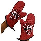 N/A Küchen-/Mikrowellen-Handschuhe für den Haushalt, zum Verdicken, Hochtemperatur-Backofen, spezielle Isolierung, Anti-Heiß-Handschuhe rot