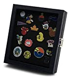 Pin Collector's Compact Display Case by Hobbymaster - for Disney, Hard Rock, Olympic, Political Campaign & other collectible pins, holds 20-50 pins (Black)