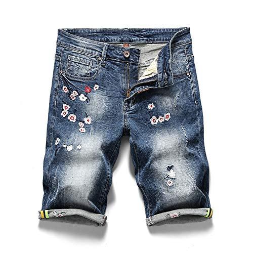Pantalones Vaqueros para Hombre Verano Pantalones Cortos de Mezclilla Bordados Personalizados Pantalones Casuales Lavables elásticos Rectos Delgados Europeos y Americanos 33W