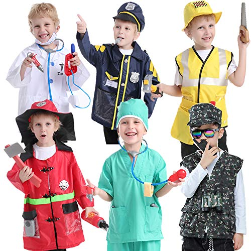 TOPTIE 6 Sets Pretend Play Halloween Costumes for 3-6 Years Old Kids, Doctor Surgeon Policeman Fire Fighter Soldier Worker