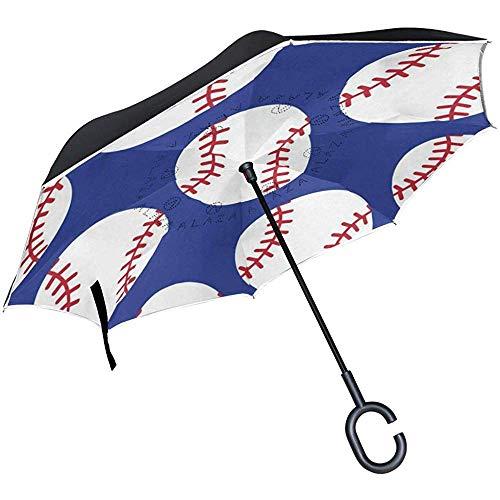 Alice Eva omkeerbare paraplu Pretty baseball, windproof, dubbele laag, omgekeerde paraplu voor in de open lucht