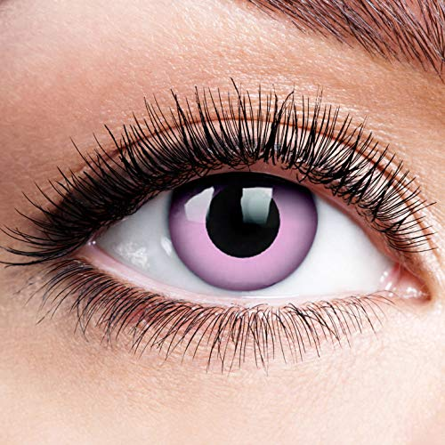 Farbige Kontaktlinsen ohne Stärke Rand Puppenaugen Pink Rosa Motiv-Linsen Halloween Karneval Fasching Cosplay Anime Manga Pinke Augen Farbig Eye Devil Einhorn Fee Engel Dämon