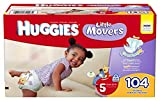HUGGIES Little Movers Diapers, Size 5 (27+ Lb.), Huge Pack (Packaging May Vary), 104 Count