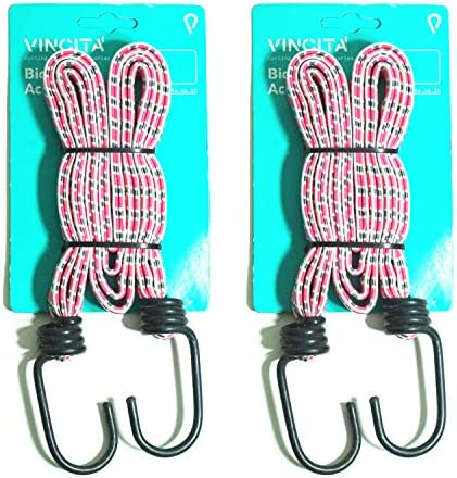 Vincita Bike Bungee Cords 4 in 1 Elastic Straps 2 Pieces 18mm Width With 2 Heavy duty Strong product image