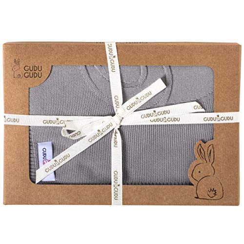 Organic Cotton Ultra Soft Knitted Baby Blanket - Grey Teddy - Newborn Essentials - Baby Gift Idea - Birthday & Baby Shower