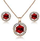 Uloveido Red Cube Crystal Conjuntos de joyas de boda Collar de granate simulado y Aretes colgantes de piedra natal Set Regalos para novias o dama de honor Y453 (Rojo)