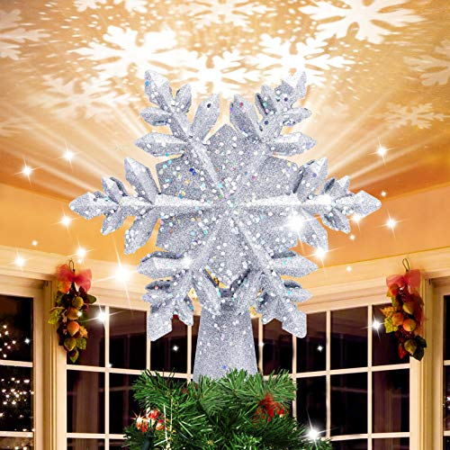 Christmas Tree Topper, Snowflake Christmas Tree Topper Lighted with 3D Magic Rotating LED Hollow Glitter Projector Xmas Tree Toppers for Christmas Decoration (Sliver)
