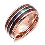 Tungsten Carbine Wedding Band Mens or Womens 8mm Rose Color Hawaiian Koa Wood Inlay Ring Thin Blue Line Imitation Abalone Shell Strip Comfort Fit Anniversary Engagement