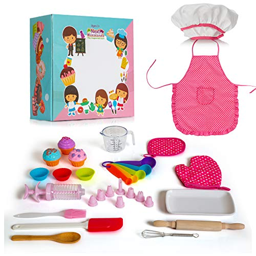 Next Milestones 26 Pcs Cupcake Baking and Cooking Chef Costume Toys Set for Kids Kitchen Pretend Play Bake Supplies Include Apron Chef Hat Oven Mitt Measuring Spoons and Cup Icing Kit Spatula and more