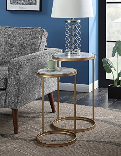 Best Convenience Concepts Gold Coast Faux Marble Nesting End Tables, Faux Marble / Gold