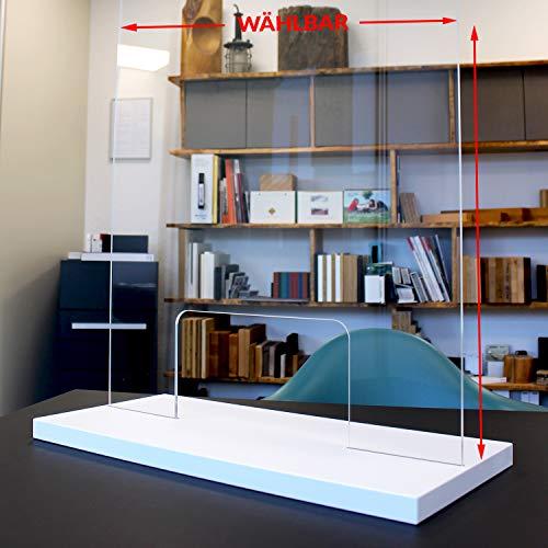 Spuckschutz Plexiglas Thekenaufsatz - Dekor beschichtet - Schutz vor Tröpcheninfektionen - Hochwertiger Hygieneschutz für Sicherheitsabstand (50x98cm, weiß mit Durchreiche)