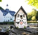 VOFA - Holz und Design Vogelhaus Hochzeit, Hochzeitsgeschenk, Geldgeschenk, Vintagehochzeit Vintage personalisiert mit Namen Brautpaar