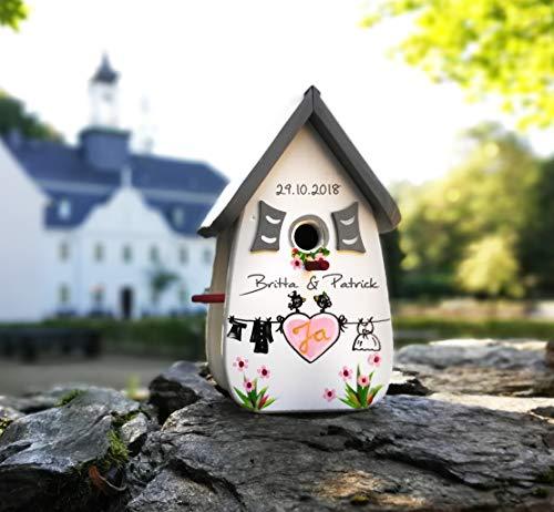 VOFA - Holz und Design Vogelhaus Hochzeit, Hochzeitsgeschenk, Geldgeschenk, Hochzeit Spiel, Geschenkverpackung, Vintagehochzeit Vintage personalisiert mit Namen Brautpaar