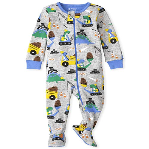 The Children's Place Baby and Toddler Boys Dino Construction Snug Fit Cotton One Piece Pajamas, H/T Mist, 3T