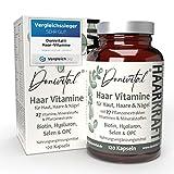 Donivital® Haar-Vitamine - VERGLEICHSSIEGER 2021 - 27 hochdosierte Vitalstoffe - Biotin, Hyaluron und weitere Mikronährstoffe - 120 vegane Haarkapseln. Für Frauen, Männer und den Bart.