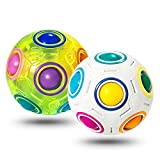 Vdealen Magic Rainbow Puzzle Ball, Speed Cube Ball Puzzle Game Fun Stress Reliever Magic Ball Brain Teaser Fidget Toys for Children Teens & Adults- 2 Pack