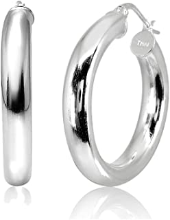 LOVVE Sterling Silver High Polished Round-Tube Click-Top Hoop Earrings, Choose a Size