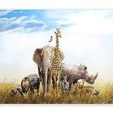 murando Papier peint intissé Afrique Animal 300x210 cm Décoration Murale XXL Poster Tableaux Muraux Tapisserie Photo Trompe l'oeil Ornament éléphant Lion g-B-0083-a-a