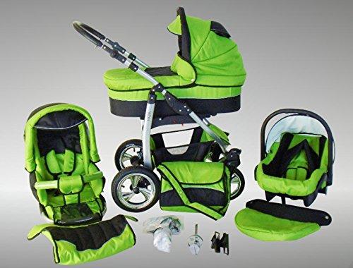 Chilly Kids Dino Kinderwagen Ganzjahres-Set (Winterfußsack, Sonnenschirm, Autositz & Adapter, Regenschutz, Moskitonetz, Getränkehalter, Schwenkräder) 22 Grün & Schwarz