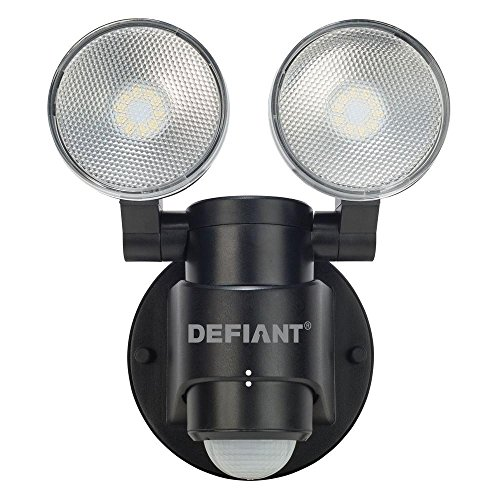Defiant DFI-5936-BK 180-Degree 2-Head Outdoor Motion Activated Black Flood Light