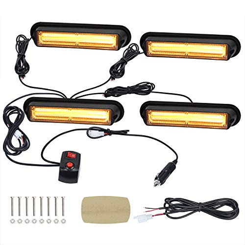 Linkitom 4 in 1 Surface Mount Grill Light Head, Sync Feature Super Bright Car Truck Emergency Beacon Warning Hazard Flash Strobe Light with 16 Different Flashing,12/24V (Amber, 6.5 INCH)