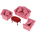 Fenteer Holz Sofatisch Sofa Wohnzimmer Puppenmöbel für 1:12 Miniatur Puppenhaus