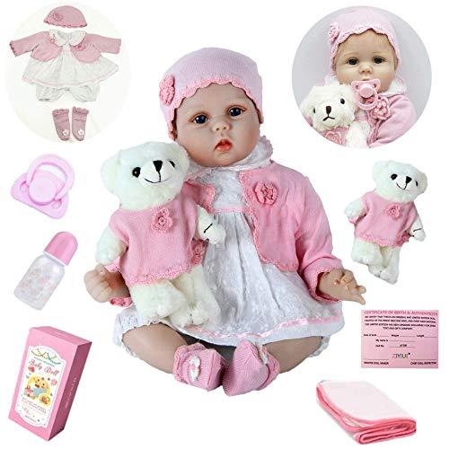 ZIYIUI Reborn BabyPuppe 22 Zoll 55cm Realistisch Baby Puppe lebensecht Weiches Vinylsilikon Reborn Baby Mädchen Handgemacht Neugeborene Echte Babypuppe