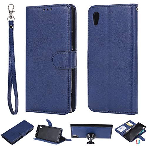 nancencen Kompatibel mit Sony Xperia XA1 / Z6 Handyhülle, Magnetische TPU 2 in 1 Wallet (Karten Slot) Schutzhülle PU Leder Flip Cover Lederhülle Hülle - Blau