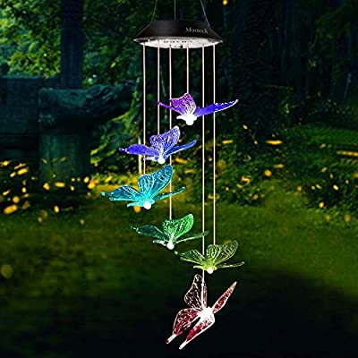 Butterfly Solar Wind Chimes Outdoor, Color-Changing Waterproof LED Mobile Wind Chime Solar Powered Colorful Light for Home Party Yard Garden Decoration