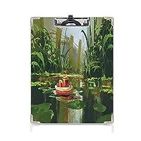 クリップボード クリップファイル ファンタジーアートの家の装飾 学校・ご家庭・オフィスなど場所 (2パック)森の漫画にインスパイアされた川のセーリングの笑顔のおもちゃのボートレッドグリーン