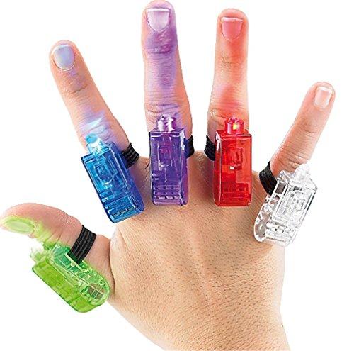 Preisvergleich Produktbild Innotechcity Super Bright Finger Taschenlampen Bunte LED Finger Fingerlichter Lichter ideal für Party mit Gummiband (10 Stück (Farbe zufällig))